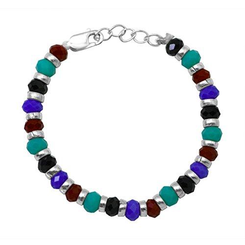 Shiyara Jewells 92.5 Sterling Silver Multicolour Beads Crystal Nazariya for Baby Boy's and Girl's