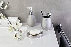 Idea Regalo - Axentia portasapone Hollywood Argento, Portasapone in ceramica di alta qualità con design sobrio e contemporaneo, Saponi Box con grande superficie di appoggio in bellissimo colore