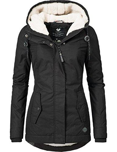 Ragwear Damen Jacke Winterjacke YM-Monade (vegan hergestellt) Schwarz Gr. L