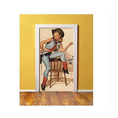 oration Moderne Wandbild Kuh Dame Tür Aufkleber Wand Druck Deco Wandbild Foto Wandaufkleber Selbstklebende Tür Wrap 77X200 Cm ()