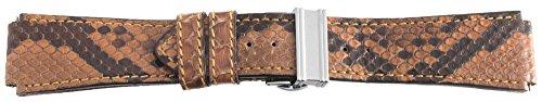 Krieger Suisses Herren-Uhrenarmband, aus echtem Leder, Braun mit Edelstahl Dornschliesse 20mm