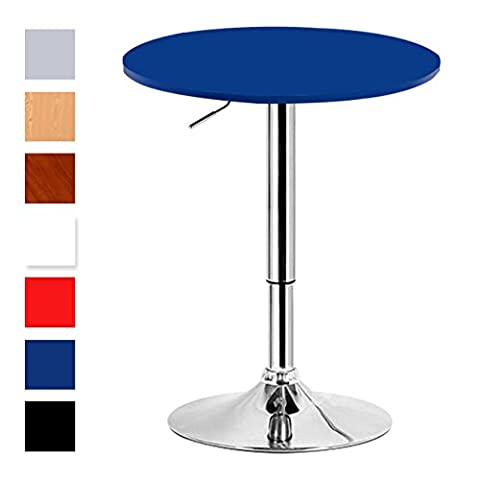 Woltu BT02bl Royalblue Breakfast Bistro Bar Table for Kitchen with Round 600mm Diameter Wood Table top