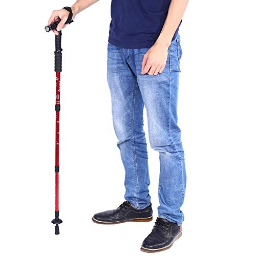 qkiss bastón para caminar portátil bastón de plegable bastón para caminatas para caminar bastón telescópico antichoque para caminatas con manija de luz led para caminatas de trekking viajes (rojo)