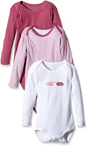 NAME IT Baby-Mädchen Body NITBODY LS M G NOOS, 3er Pack, Gr. 92, Mehrfarbig (Red Violet)