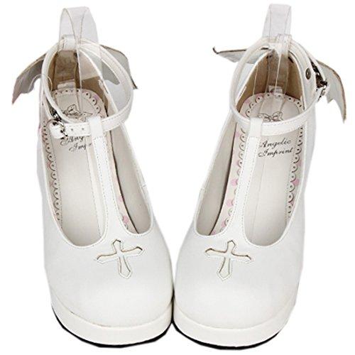 Partiss Damen Japanische Round Toe PU Pumps Lolita Schuhen mit hohem Absatz Weiss 2