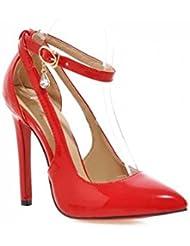 NobS Wpmen Bloqueo Dedo Del Pie Tacones Altos Punta Dedo Pie Sandalias Estilete Tacones Altos Zapatos Boda Zapatos Vestir , red , 43 (not returned)