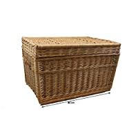 Willow basket, XL extra-large trunk, 80 cm with lid, wicker chest