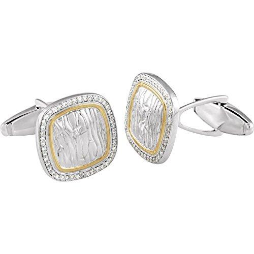 Sterling Silber Diamant Manschettenknöpfe 1/Ct Erstellt Paar