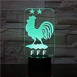 Wlwhaoo France Footballeur Français Équipe 2 Étoiles Deux Championnat 3D Led Capteur Tactile 7 Couleurs Change Night Lamp