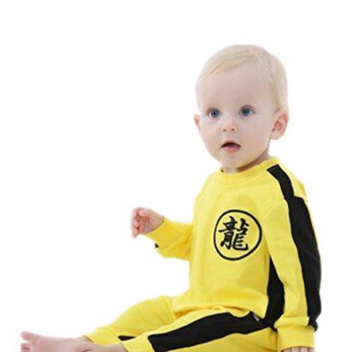 Bruce Lee Combinaison pilote Bébé Garçons Printemps,Koly Bambin Combinaison pyjamas de neige en Coton Cartoon mignonne Barboteuse Manches Longues Nouveau-né Romper Jumpsuit (Jaune, 18-24 mois)