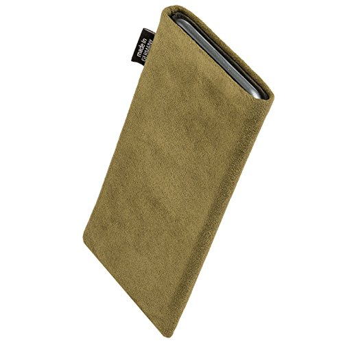 fitBAG Classic Grau Handytasche Tasche aus original Alcantara mit Microfaserinnenfutter für Apple iPhone 6 / 6S / 7 mit Apple Leather Case Classic Khaki