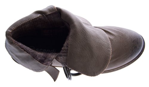 Damen Stiefeletten Braun Brasch Schuhe Stiefel Pumps Knöchelschuhe gefüttert Kaltfutter Absatz Braun