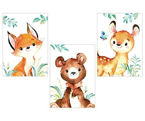 Lalelu-Prints Kinderzimmer Poster 3er Set DIN A4 I Kinderzimmer Deko Mädchen Junge I Wandgestaltung Wanddekoration Wandbilder (Reh Bär Fuchs)