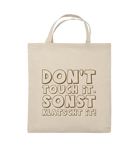 Comedy Bags - DON'T TOUCH IT - KLATSCHT - Jutebeutel - kurze Henkel - 38x42cm - Farbe: Schwarz / Silber Natural / Hellbraun