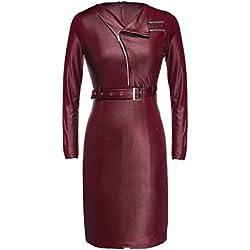 Vestido de Mujer de Piel Noche Lapiz Rojo XL