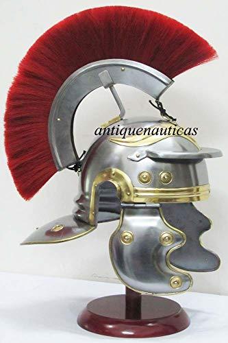 Roman Centurion Beamte Helm Mittelalter Armor Messing Akzente Helm mit Rot ()