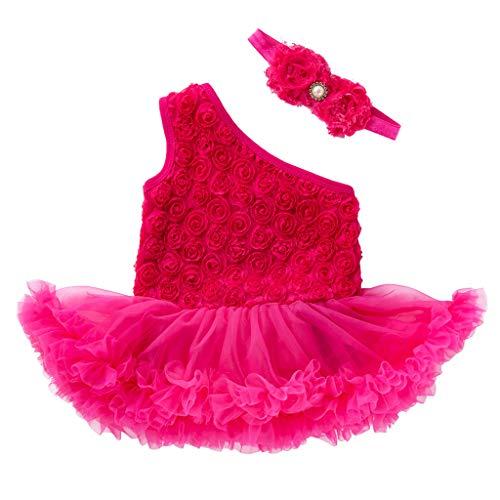 YWLINK MäDchen Kleider Festlich äRmellos Eine Schulter Eine Schulter Hochzeit BüHne Leistung Tutu Kleiden Blumen Kleid + Stirnband Outfits Eingestellt(Heiß Rosa,80)