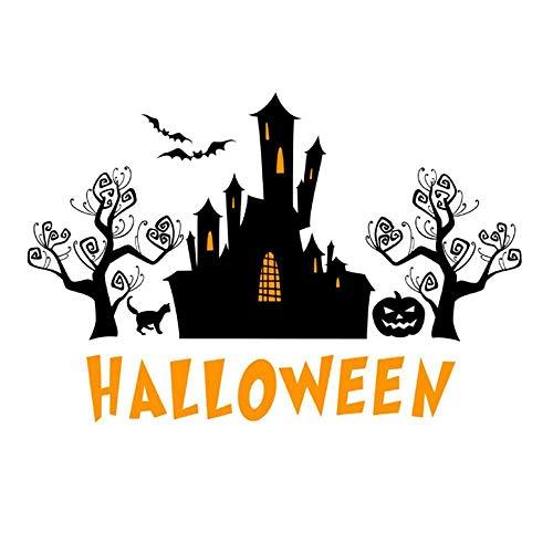 (Olydmsky Wandtatoos Wohnzimmer,Halloween Haunted House Kürbis Gesicht Abnehmbare Hintergrundwand Aufkleber Klimagesundheit dekorative Malerei 58x80cm)