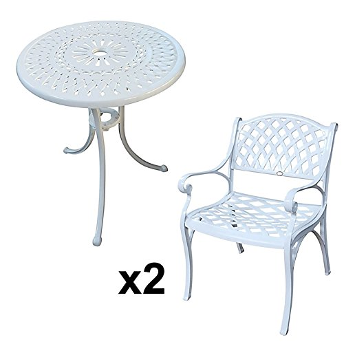 Lazy Susan - EVE 60 cm Bistrotisch mit 2 Stühlen - Rundes Gartenmöbel Set aus Metall, Weiß (Kate Stühle)