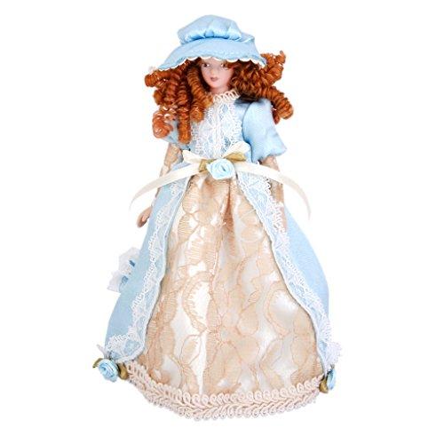 perfeclan Muñeca Victoriana En Miniatura con Ropa Y Sombrero, 1/12 Dollhouse People Modelo Realista, para Cualquier Habitación Accesorios Coleccionables