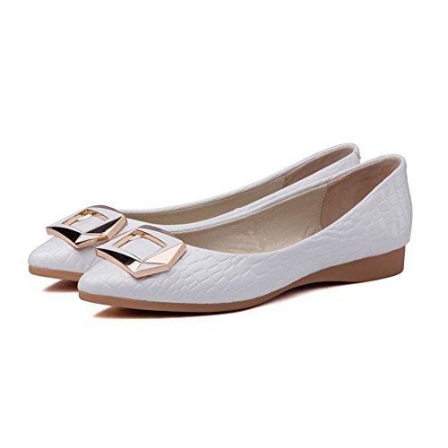 VogueZone009 Femme Pu Cuir Non Talon Pointu Tire Chaussures à Plat Blanc