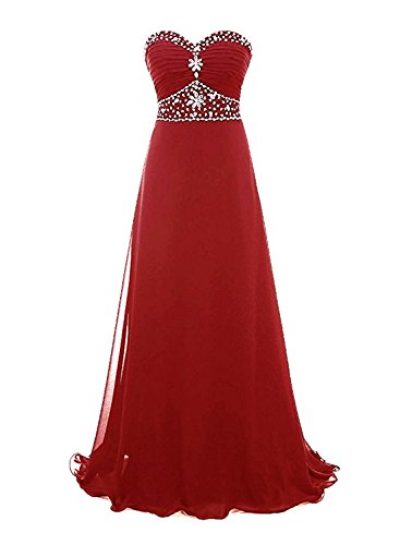 Azbro Women's Sweetheart Strapless Rhinestone Bridesmaid Chiffon Prom Dress Burgundy