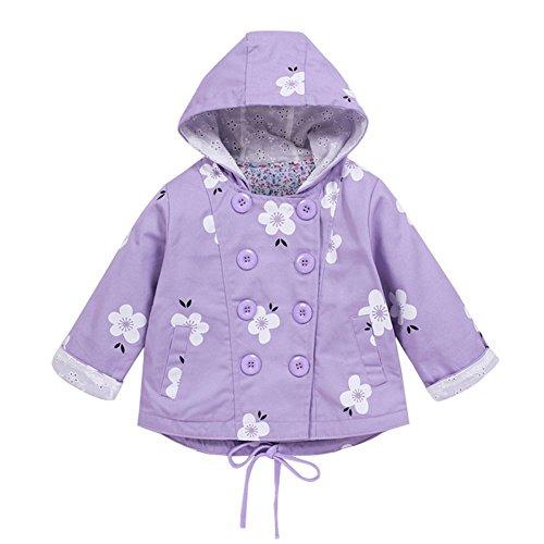 Baby Mädchen Jacke Übergangsjacke Gedruckt Kapuzenjacke Kinder Prinzessin Frühling Herbst Outwear Lila 120 -