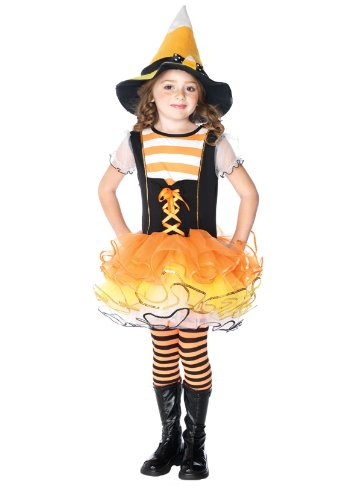 Candyland Kostüm (Candyland Witch Dress & Candy Corn Hat Costume Child X-Small)