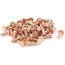 """Sourcingmap–® 50pcs 5/32""""x 25/64"""" Shank de cabeza plana de cobre macizo remaches cierres"""