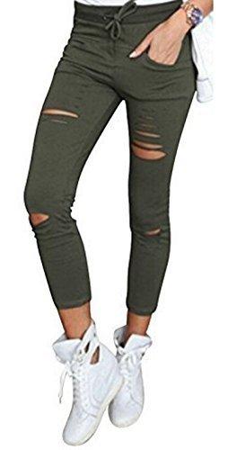 Live it style it pantaloni jeggings skinny da donna elasticizzati, strappati khaki medium