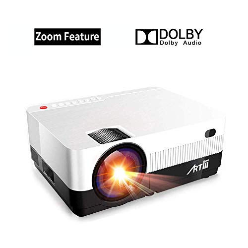 Proiettore Portatile - con Zoom, Artlii Videoproiettore HD, Supporta 1080P Dolby, Compatibile con Ingressi USB/HD/TF/AV/VGA per Home Theater