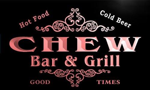 u07896-r CHEW Family Name Bar & Grill Cold Beer Neon Light Sign Barlicht Neonlicht Lichtwerbung (Chew Bar)