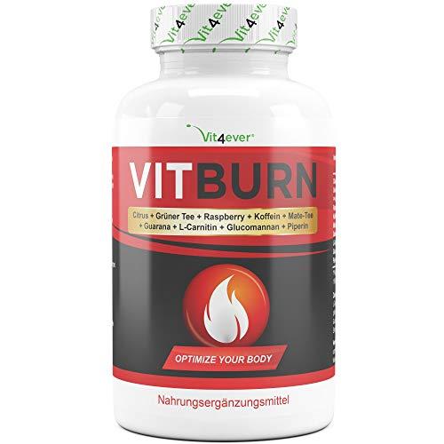 VITBURN - Abnehmen - Hochdosiert - Vegan - Mit Citrus Aurantium + Güner Tee Extrakt + Raspberry Ketone + Koffein + Mate-Tee + Guarana + L-Carnitin + Glucomannan
