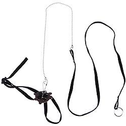 POPETPOP Arnés para Mascotas Reptil Leash Tortuga Lagarto Ajustable de Entrenamiento al Aire Libre Correa Suave (Negro)