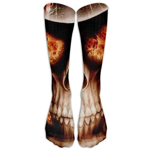Ljkhas232 Flames Skulls Athletic Tube Stockings Women Men Classics Knee High Socks Sport Long Sock One Size -
