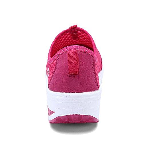 EnllerviiD Damen Sneaker Atmungsaktiv Slip On Mesh-oberfläche Schuhe Laufschuhe Plateau Rot
