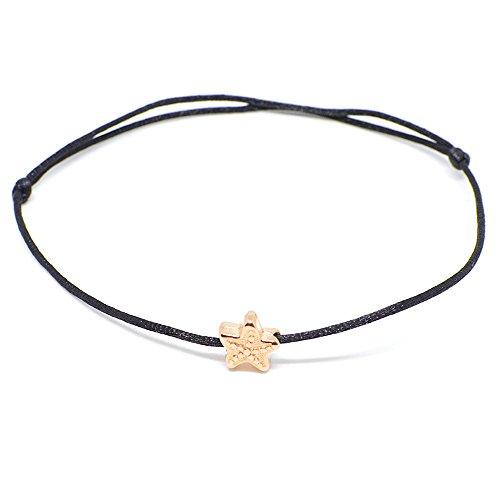 Schwarzes Fußkettchen mit Seestern in Rosegold Selfmade Jewelry Handgemachte Damen Fußkette Größenverstellbar