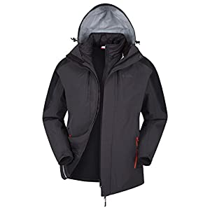41D5N K8CwL. SS300  - Mountain Warehouse Zenith II Mens 3 in 1 Jacket - Waterproof Rain Jacket, Warm, Breathable Winter Mens Coat, Taped Seams, Hooded, Underarm Zips - for Walking & Hiking