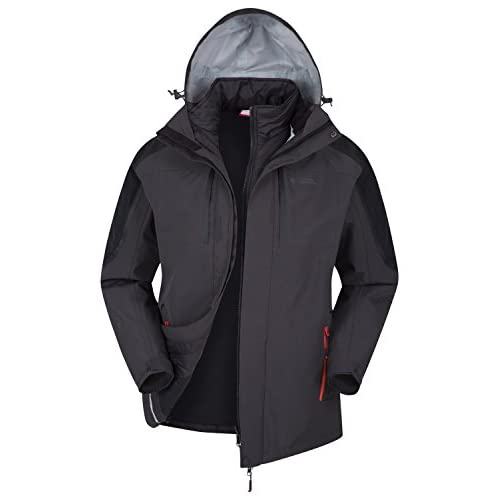 41D5N K8CwL. SS500  - Mountain Warehouse Zenith II Mens 3 in 1 Jacket - Waterproof Rain Jacket, Warm, Breathable Winter Mens Coat, Taped Seams, Hooded, Underarm Zips - for Walking & Hiking