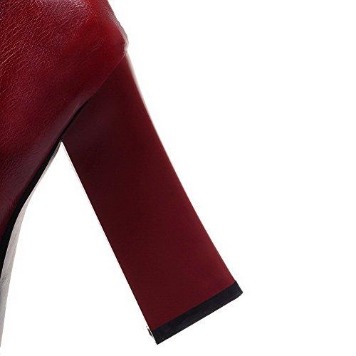 AllhqFashion Damen Hoher Absatz Anhänger Rund Zehe Pu Leder Reißverschluss Stiefel Rot