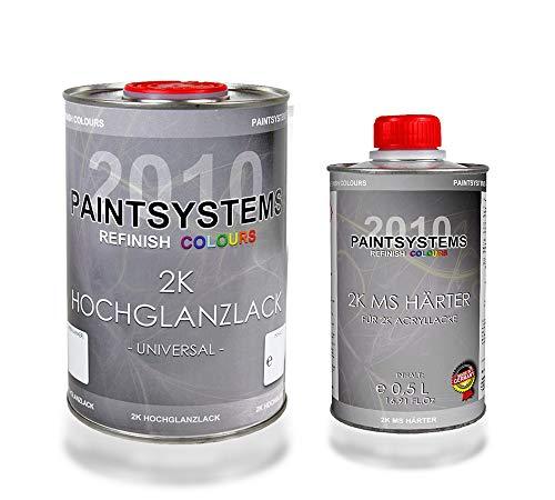 PAINTSYSTEMS REFINISH COLOURS 2K Acryl Autolack Set RAL 9005 SCHWARZ Hochglanz, 1,5L/1L + 0,5L -