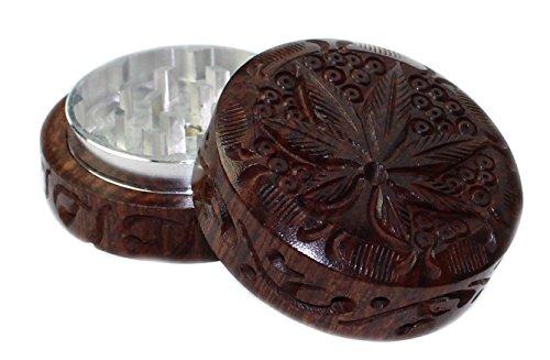 budawi® - Crusher aus Holz Ø 55 mm mit Hanf Motiv, Grinder, Grasmühle Holz Grinder (Kräutermühle)