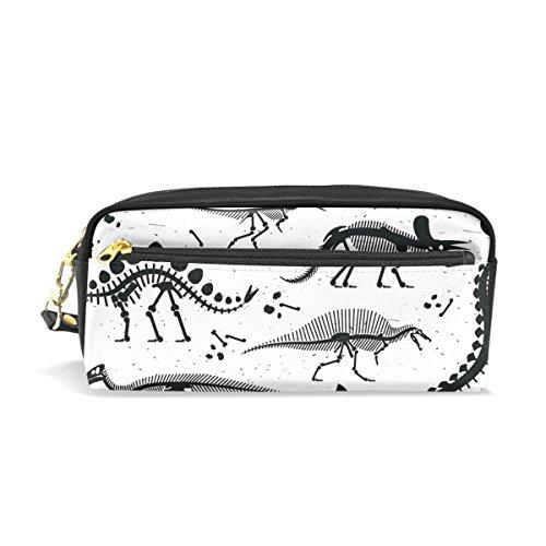 ahomy schwarz Dinosaurier Skelett Bleistift Pen Fällen Doppelreißverschluss Große Make-up Kosmetik Stationery Tasche für Tasche für Mädchen jungen Frauen