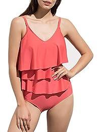 HaoShou Damen V-Neck Two Piece Swimsuit Tiered Rüschen Tankini Top mit  Kurzen Bademode Badeanzüge c983bdb09f