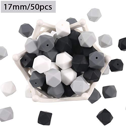 baby tete Perles de Dentition en Silicone Blanc Noir 50pcs 17mm Perles à Mâcher à l'hexagone 100% de Qualité Alimentaire Bijoux D'allaitement
