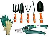 #2: Easy Gardening - 701 - Garden Tools Kit (6Tools) + Knit Gardening Gloves - Weeder,Trowel Big,Trowel Small,Cultivator,Fork, Pruner