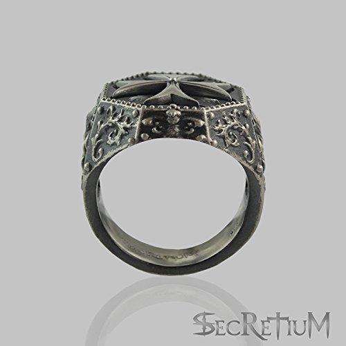 Knights templar masonic ring Sterling silver 925 Antique Finish