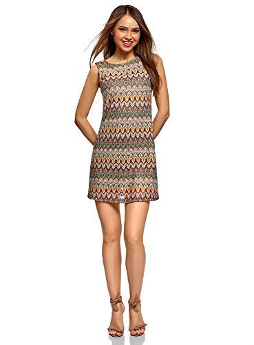 oodji Ultra Mujer Vestido de Tejido Texturizado con Decoración Étnica, 38 / S