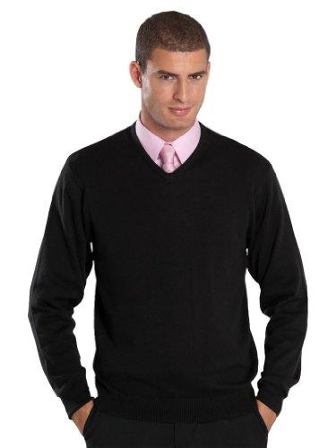 Preisvergleich Produktbild Glattgestrickter Pullover mit V-Ausschnitt - Farbe: Black - Größe: 3XL