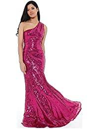 d1ba4ab2a2b6 Goddiva Cerise Long Sequin One Shoulder Evening Maxi Gown Dress Prom Ball  Party 8-14